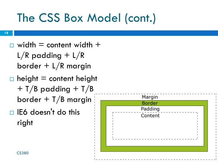 The CSS Box Model (cont.)