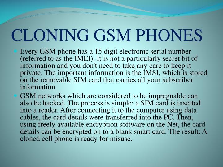 CLONING GSM PHONES