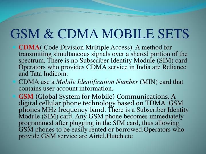 GSM & CDMA MOBILE SETS