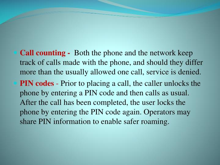 Call counting -