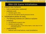 xna gse game initialization