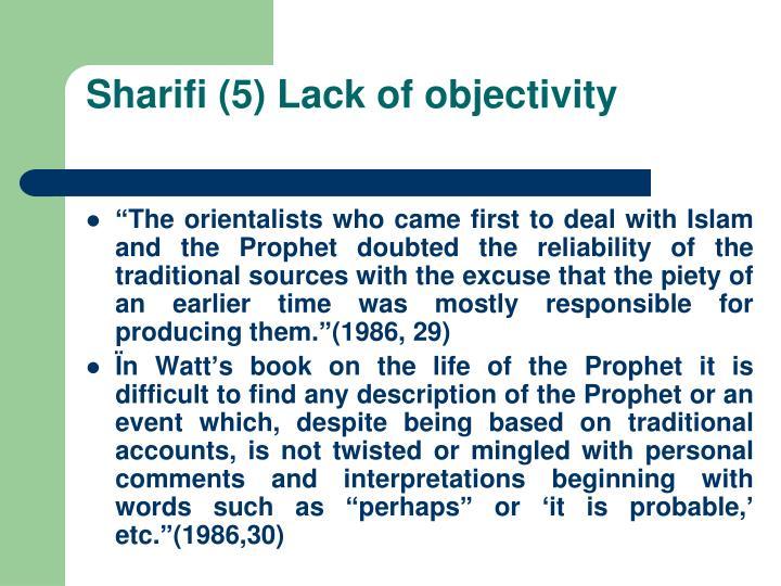 Sharifi (5) Lack of objectivity