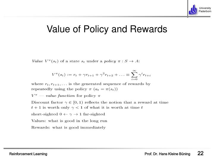 Value of Policy and Rewards
