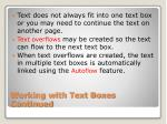 working with text boxes continued