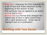 working with text boxes