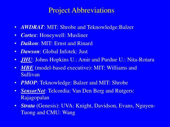 Project Abbreviations