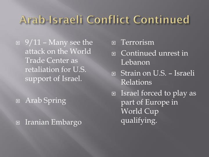 Arab-Israeli Conflict Continued