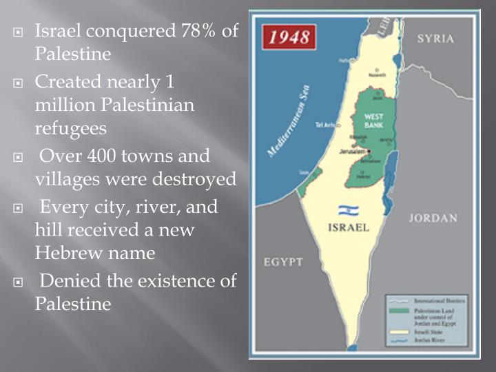 Israel conquered 78% of Palestine
