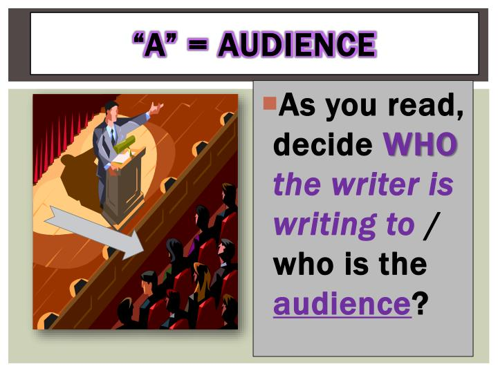 """A"" = Audience"