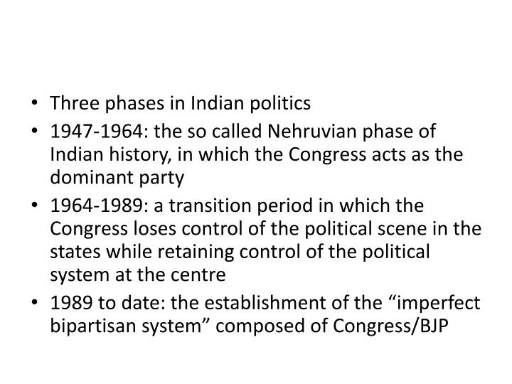 Three phases in Indian politics