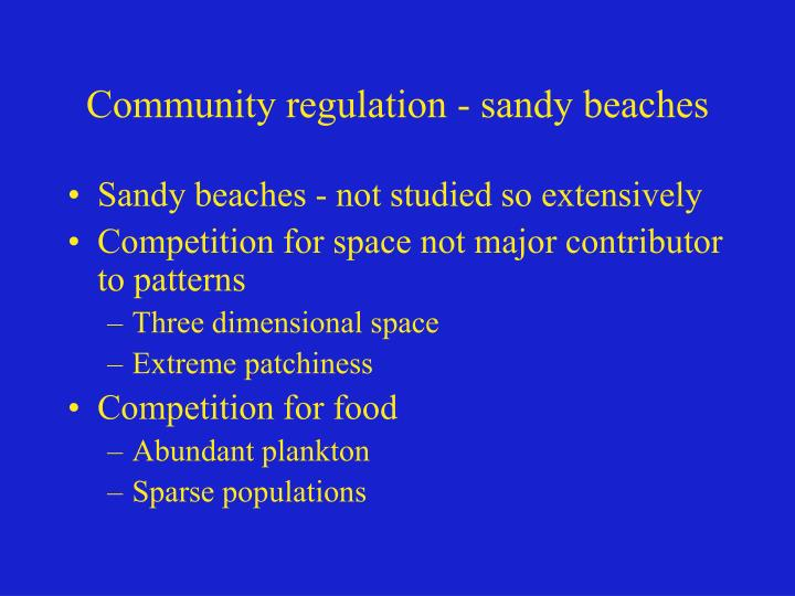 Community regulation - sandy beaches