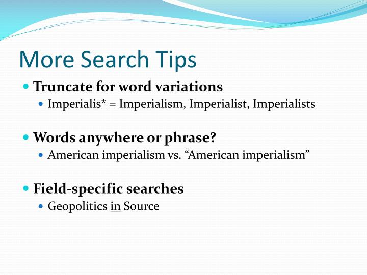 More Search Tips