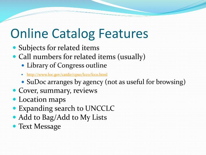 Online Catalog Features