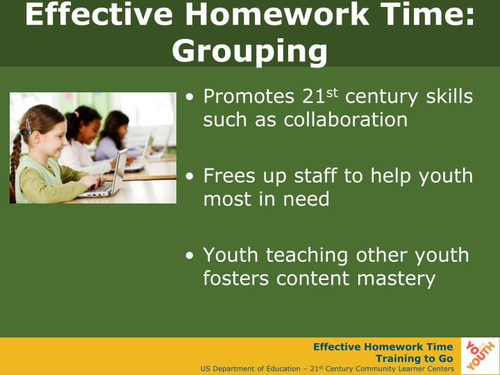 Effective Homework Time: Grouping