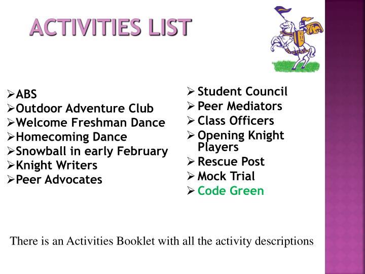 Activities List