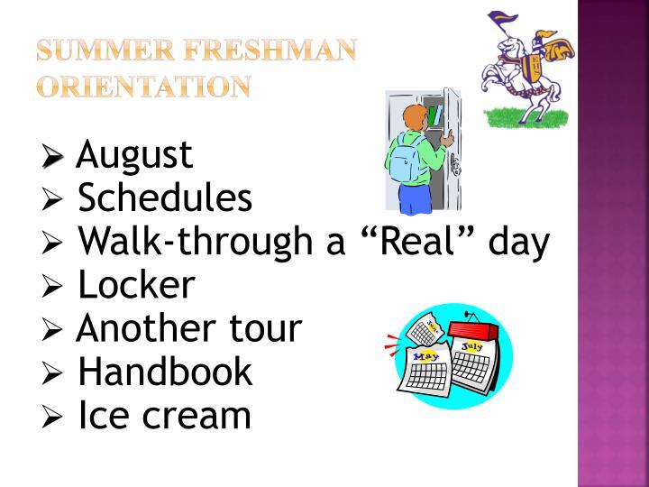 Summer Freshman Orientation
