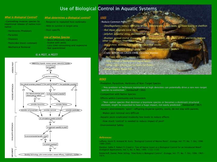 use of biological control in aquatic systems n.
