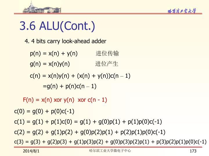 3.6 ALU(Cont.)