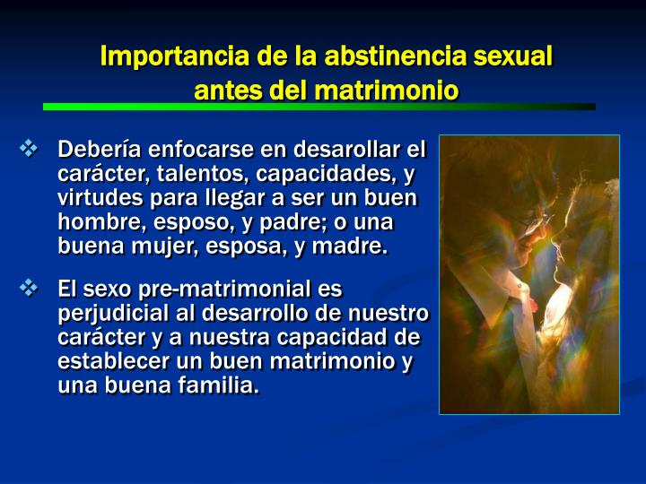 Importancia de la abstinencia sexual