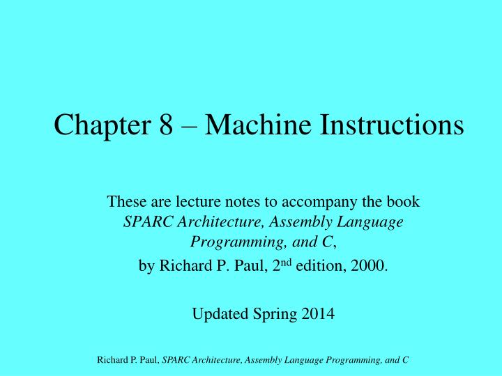 chapter 8 machine instructions n.