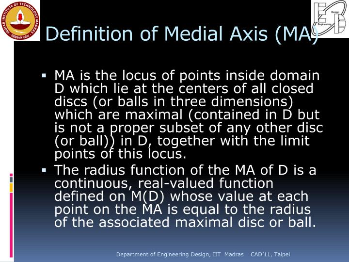 Definition of Medial Axis (MA)