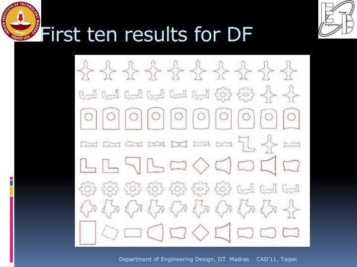 First ten results for DF