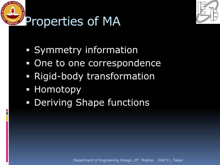 Properties of MA