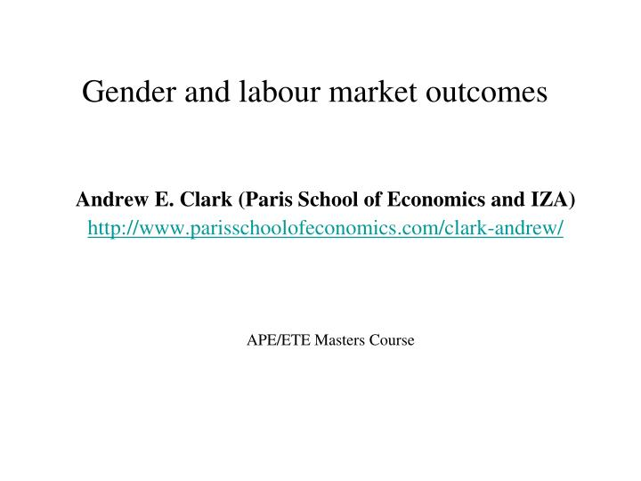 gender and labour market outcomes n.