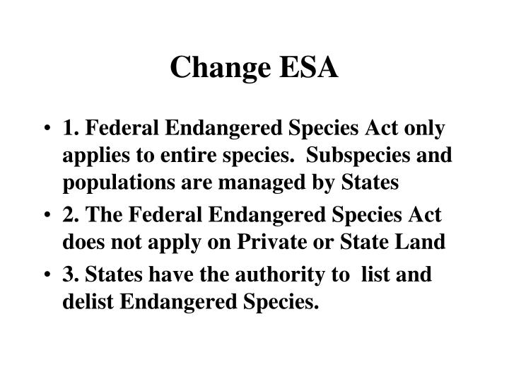 Change ESA
