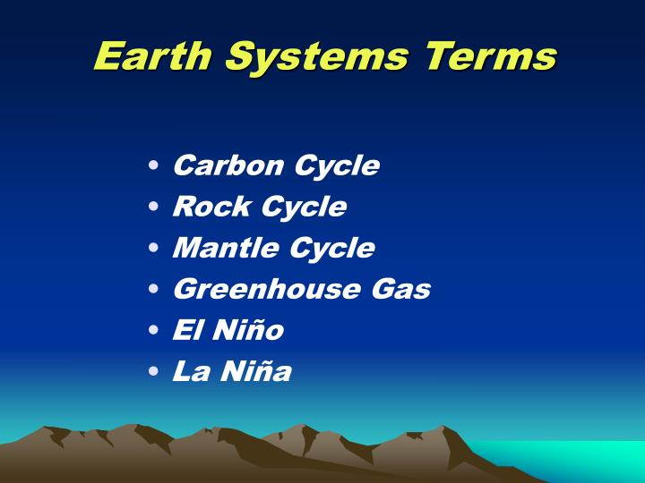 Earth Systems Terms