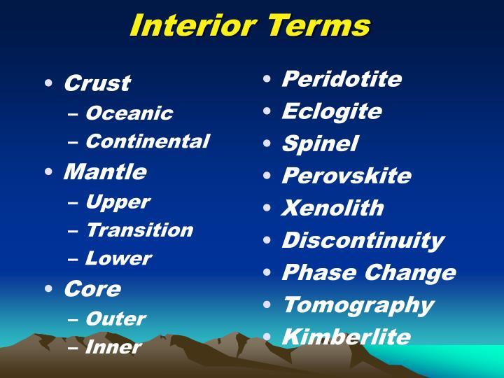 Interior terms
