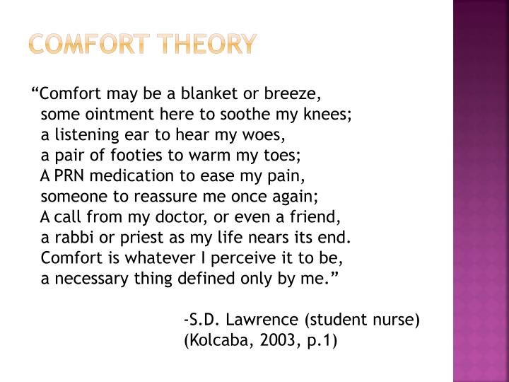 kolcabas comfort theory analysis and Dr katharine kolcaba is a nursing theorist who developed the comfort theory in the 1990s it is a mid-range nursing theory that she is still researching and refining today it is a mid-range nursing theory that she is still researching and refining today.