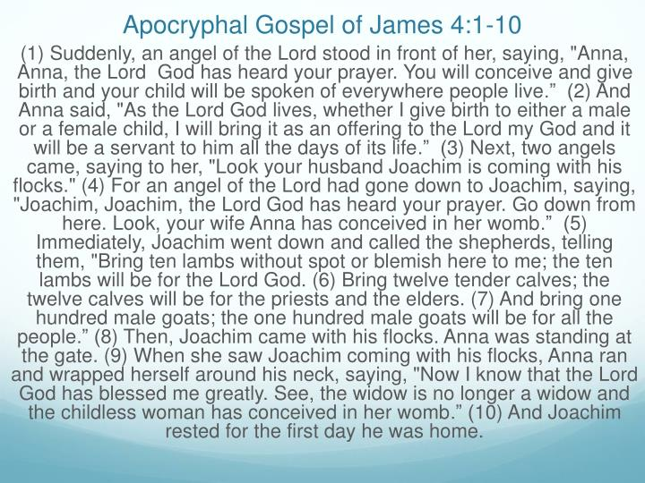 Apocryphal gospel of james 4 1 10