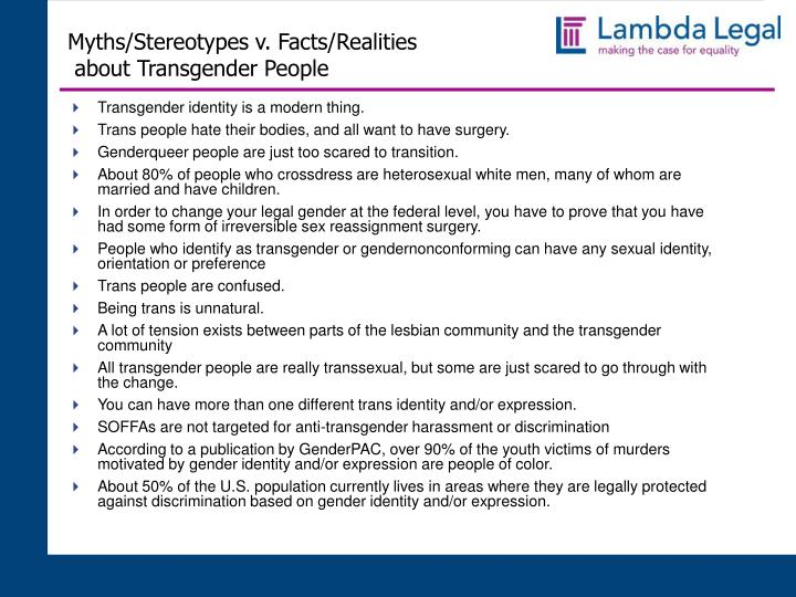 Myths/Stereotypes v. Facts/Realities