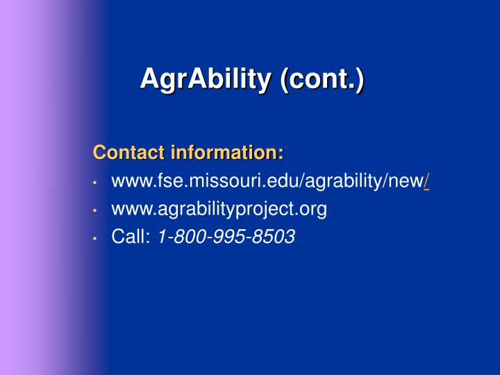 AgrAbility (cont.)