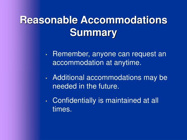 Reasonable Accommodations Summary