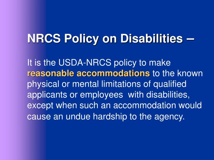 NRCS Policy on Disabilities