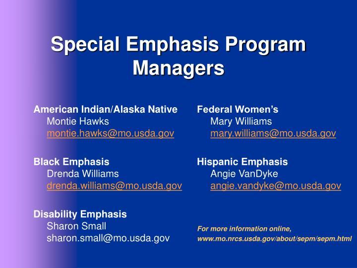 Special Emphasis Program