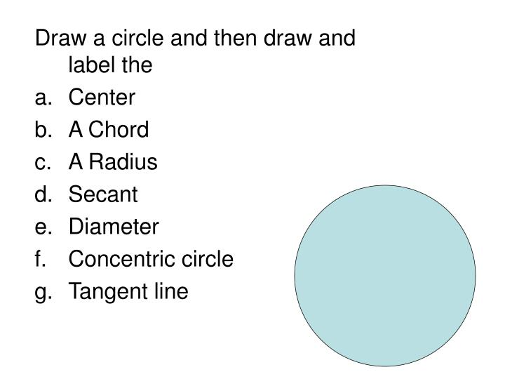 Draw a circle and then draw and label the