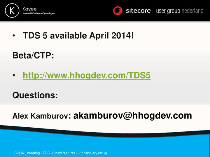 TDS 5 available