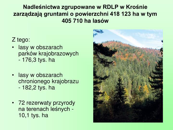 Nadleśnictwa zgrupowane w RDLP w Krośnie zarządzają gruntami o powierzchni 418 123 ha w tym 405710 ha lasów