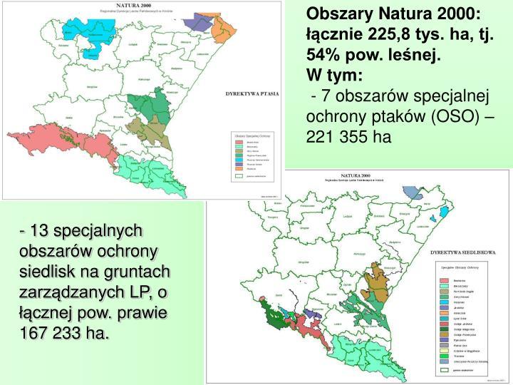 Obszary Natura 2000: łącznie 225,8 tys. ha, tj. 54% pow. leśnej.