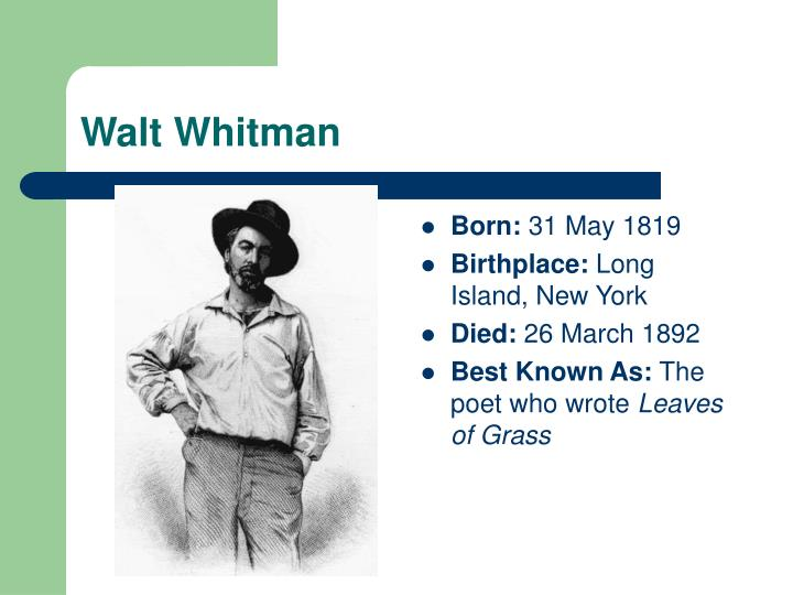 a comparison of the literary works of walt whitman and emily dickinson Poetry comparison of dickinson & whitman this paper will discuss the similarities and the differences between selected poems of emily dickinson and of walt whitman dickinson is famous for her homebound ways, was apparently strongly introverted, had a narrow field of acquaintances, and never traveled far from home.