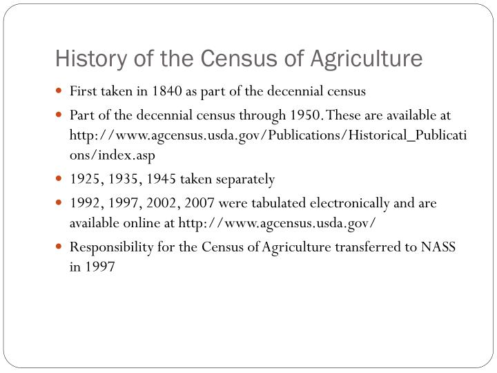 History of the Census of Agriculture