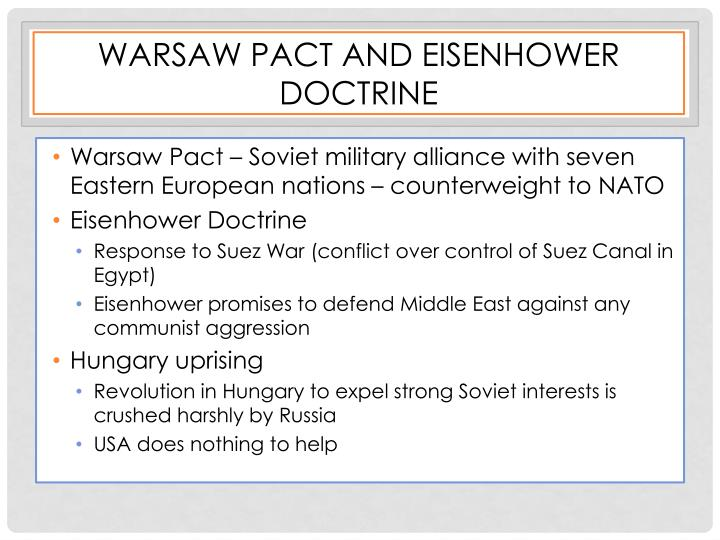 Warsaw Pact and Eisenhower Doctrine