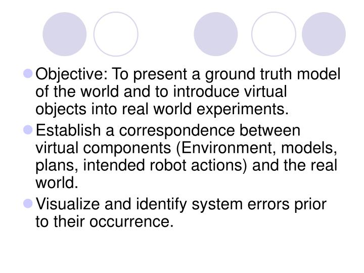 Objective: To present a ground truth model of the world and to introduce virtual objects into real world experiments.