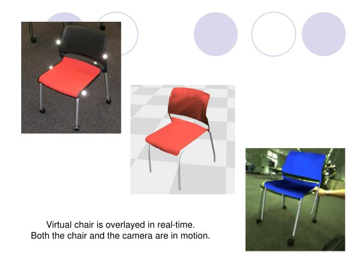 Virtual chair is overlayed in real-time.