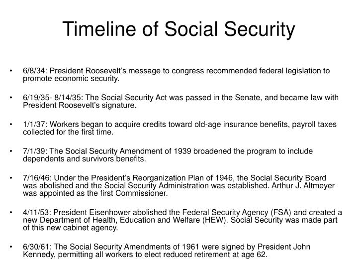 PPT - Timeline of Social Security PowerPoint Presentation
