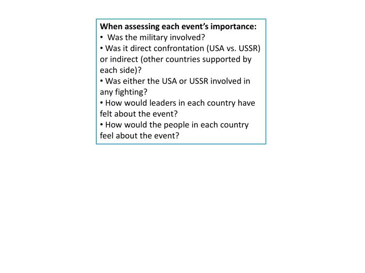 When assessing each event's importance: