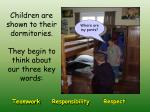 children are shown to their dormitories they begin to think about our three key words